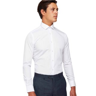 Remus Uomo White Slim Fit Cotton-Blend Shirt