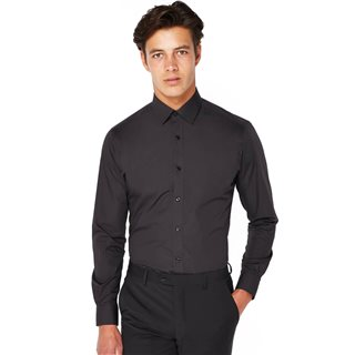 Remus Uomo Black Tapered Fit Cotton Blend Formal Shirt