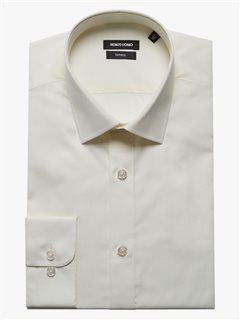 Remus Uomo Ivory Tapered Fit Cotton Blend Formal Shirt