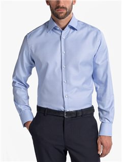 Eterna Modern Fit Structured Shirt Blue