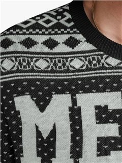 Jack & Jones Originals Black Christmas Knitted Pullover