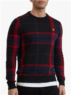 Lyle & Scott Tartan Crew Neck Knit Black