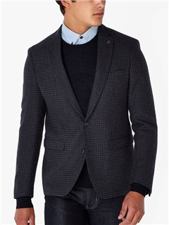 Remus Uomo Clothing Slim Fit Check Blazer Navy