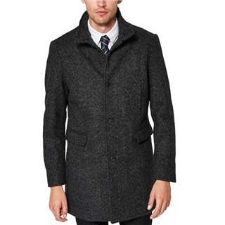 Selected Homme Black Mosto Wool Overcoat