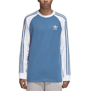 adidas Originals Blue Long Sleeve 3-Stripe T-Shirt