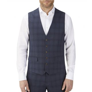Skopes Navy Moseley Check Suit Waistcoat