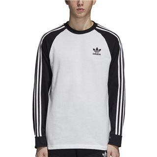 adidas Originals White 3-Stripe Long Sleeve T-Shirt