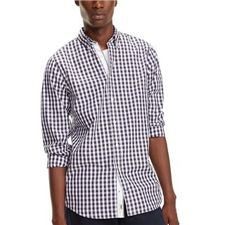 Tommy Hilfiger Peacoat Slim Cotton Gingham Check Shirt
