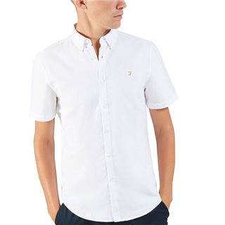 Farah White Brewer Short Sleeve Shirt
