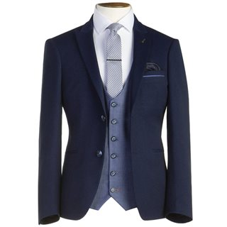 Travis Navy Teddy Slim Fit 3-Piece Suit