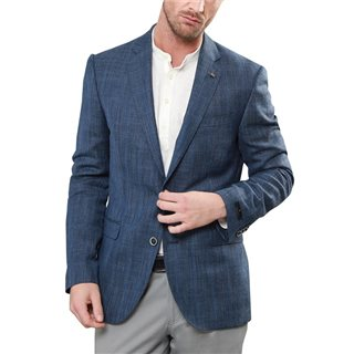 Magee 1866 Blue Wool & Linen Check Tailored Fit Blazer