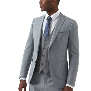 Remus Uomo Suits Mario Light Grey Slim Fit Stretch 3-Piece Suit