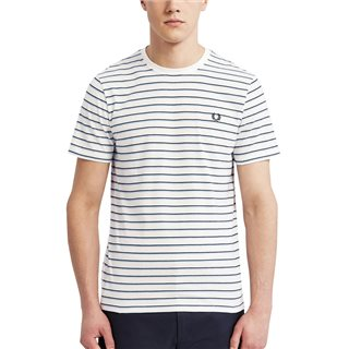 Fred Perry White Fine Stripe T-Shirt