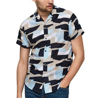 Selected Homme Dark Sapphire Abstrakt Art All Over Print Short Sleeved Shirt