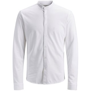 Jack & Jones Premium White Rome Grandfather Collar Shirt