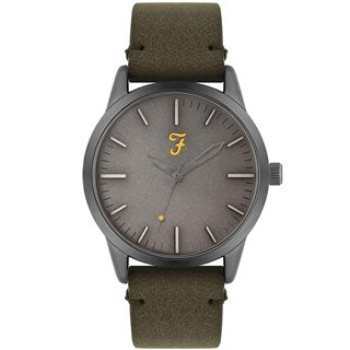 Farah Accessories Classic Olive Suedette Strap Watch