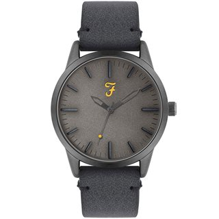 Farah Accessories Classic Cool Grey Suedette Strap Watch
