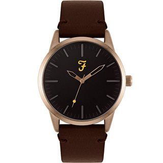 Farah Accessories Brown Classic Leather Strap Watch