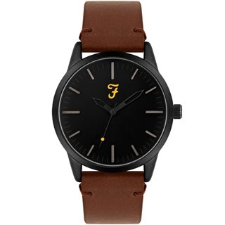 Farah Accessories Tan Classic Leather Strap Watch