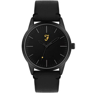 Farah Accessories Black Classic Leather Strap Watch