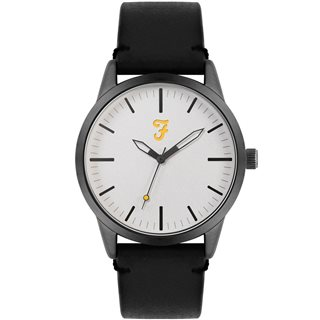 Farah Accessories Black/Silver Classic Leather Strap Watch