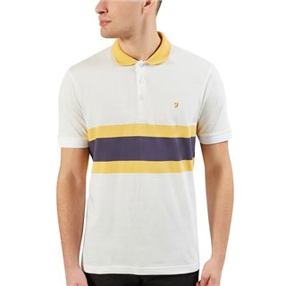 Farah White Rushton Short Sleeve Polo