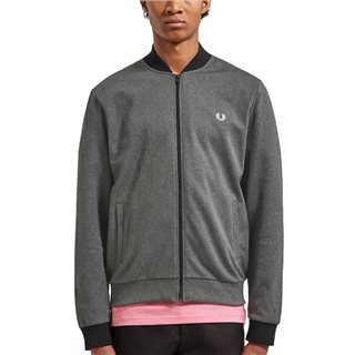 Fred Perry Charcoal Grey Tipped Bomber Neck Track Jacket