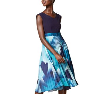 Closet London Navy 2-In-1 Abstract Pleated Skirt Dress
