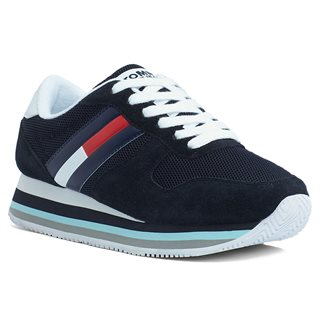Tommy Accessories Midnight Signature Tape Heel Retro-Style Trainers