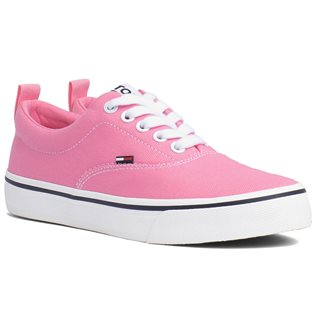 Tommy Hilfiger Geranium Pink Cotton Lace-Up Trainers