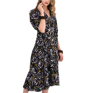 Closet London Khaki Rose Printed Puff Sleeve Wrap Midi Dress