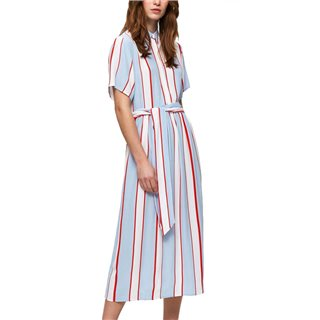 Selected Femme Xenon Blue Striped Midi Dress