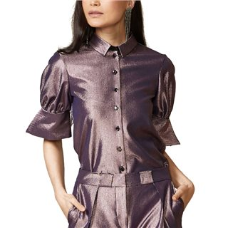 Closet London Metallic Lilac Puff Sleeve Shirt