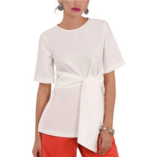 Closet London Ivory Short Sleeve Top With Tie Waist