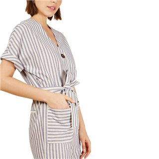 FRNCH Paris Blue Ecru Mouna Stripe Jumpsuit