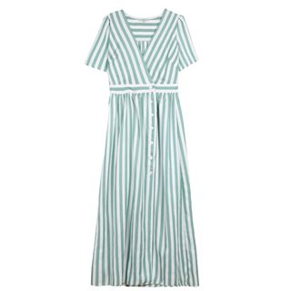 FRNCH Paris Green White Anaele Stripe Robe Dress