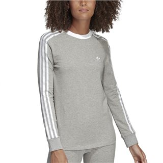adidas Originals Grey 3-Stripes Long Sleeve T-Shirt