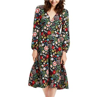 Traffic People Black Floral Mama Mia Midi Dress