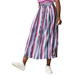 Closet London Paint Stripe A-Line Skirt With Buttons
