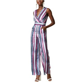Closet London Lilac Paint Stripe Wide Leg Jumpsuit