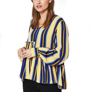 Selected Femme Blue Depths Serena Asymmetrical Long Sleeved Blouse