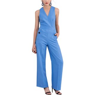 Closet London Blue Sleeveless Wrap Top Jumpsuit