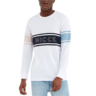 Nicce White Panel Long Sleeve T-Shirt