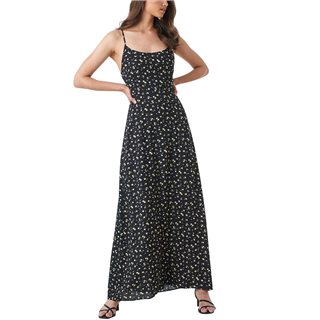NA-KD Black Open Back Floral Maxi Dress