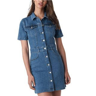 NA-KD Blue Button-Up Mini Denim Dress