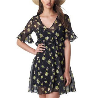 NA-KD Black Ruffle Floral Mini Dress