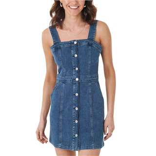 NA-KD Blue Pinafore Mini Denim Dress
