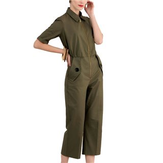 Closet London Olive Short Sleeve Boiler Suit