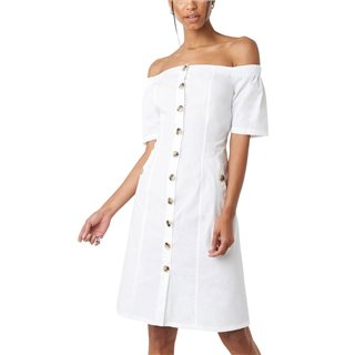 NA-KD White Bardot Button-Up Midi Dress