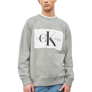 Calvin Klein Grey Heather Flock Logo Sweatshirt